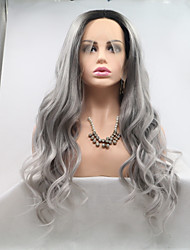 cheap -Synthetic Lace Front Wig Body Wave Dark Gray Layered Haircut Grey 130% Density Synthetic Hair 26 inch Women's Women Dark Gray / Black Wig Medium Length Lace Front Sylvia / Yes