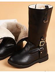 Недорогие -Девочки Обувь Полиуретан Зима Модная обувь Ботинки Пряжки / Молнии для Дети Черный / Коричневый