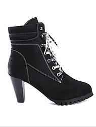 Недорогие -Жен. Полиуретан Весна На каждый день Ботинки На толстом каблуке Черный / Коричневый
