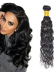 Недорогие -4 Связки Бразильские волосы Перуанские волосы Волнистые 8A Натуральные волосы Необработанные натуральные волосы Подарки Косплей Костюмы Головные уборы 8-28 дюймовый Естественный цвет