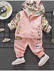 billige -Baby Jente Grunnleggende Daglig Ensfarget / Blomstret Langermet Normal Normal Bomull / Polyester Tøysett Rosa