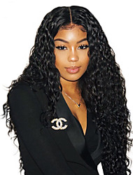 cheap -Remy Human Hair 6x13 Closure Lace Front Wig Deep Parting Kardashian style Brazilian Hair Wavy Wig 150% 180% Density 8-22 inch Adjustable Heat Resistant with Clip Pre-Plucked Bleached Knots Natural