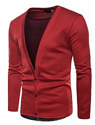 tanie -Męskie Codzienny Solidne kolory Długi rękaw Regularny Sweter rozpinany, W serek Czarny / Czerwony / Fioletowy L / XL / XXL