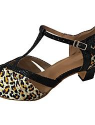 Недорогие -Жен. / Девочки Обувь для латины Сатин Сандалии Леопардовый принт Толстая каблук Танцевальная обувь Цвет-леопард