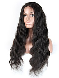 Недорогие -Не подвергавшиеся окрашиванию человеческие волосы Remy Лента спереди Парик Стрижка каскад Средняя часть Боковая часть стиль Бразильские волосы Естественные кудри Парик 130% Плотность волос
