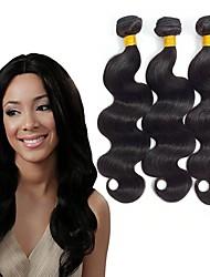 Недорогие -3 Связки Бразильские волосы Перуанские волосы Естественные кудри 8A Натуральные волосы Необработанные натуральные волосы Подарки Косплей Костюмы Головные уборы 8-28 дюймовый Естественный цвет