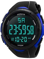 Недорогие -Муж. Спортивные часы электронные часы Японский Цифровой Стеганная ПУ кожа Черный 30 m Защита от влаги Календарь Секундомер Цифровой Кольцеобразный Мода - Белый Черный Синий / Два года / Два года