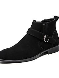 abordables -Homme Fashion Boots Daim Automne hiver Décontracté Bottes Augmenter la hauteur Bottine / Demi Botte Bloc de Couleur Noir