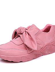 Недорогие -Жен. Замша Осень На каждый день Спортивная обувь Беговая обувь На плоской подошве Круглый носок Бант Черный / Серый / Розовый