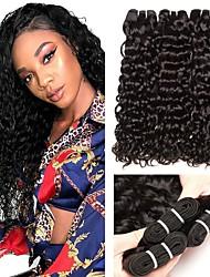 Недорогие -3 Связки Малазийские волосы Волнистые 8A Натуральные волосы Необработанные натуральные волосы Подарки Человека ткет Волосы Уход за волосами 8-28 дюймовый Естественный цвет Ткет человеческих волос