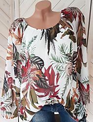 Недорогие -женский плюс размер свободная рубашка - цветочные с плеча