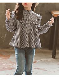 tanie -Dzieci Dla dziewczynek Podstawowy Codzienny Solidne kolory Długi rękaw Regularny Bawełna / Poliester Bluzka Czarny