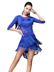 billiga -Latinamerikansk dans Outfits Dam Prestanda Mjölkfiber Mönster / tryck / Tofs / Kombination Halvlång ärm Dropped Kjolar / Topp / Shorts