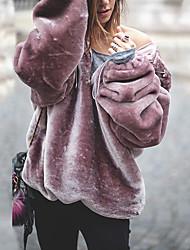 Недорогие -Жен. Уличный стиль Свободный силуэт Брюки - Однотонный Крупногабаритные / негабаритный Темно-серый
