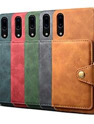 Недорогие -Кейс для Назначение Huawei Huawei P20 / Huawei P20 Pro / Huawei P20 lite Кошелек / Бумажник для карт / Защита от удара Кейс на заднюю панель Однотонный Твердый Кожа PU