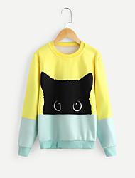 tanie -Dzieci Dla dziewczynek Moda miejska Kolorowy blok Długi rękaw Regularny Poliester Bluzy Żółty