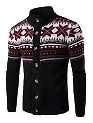 Недорогие -Муж. Рождество / Повседневные Классический Геометрический принт / Контрастных цветов Длинный рукав Обычный Пуловер Черный / Темно-серый / Светло-серый L / XL / XXL