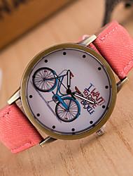 Недорогие -Жен. Наручные часы Кварцевый Натуральная кожа Черный / Белый / Синий Повседневные часы Милый Аналоговый Дамы Мода Цветной - Красный Зеленый Розовый
