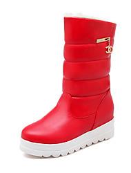 Недорогие -Жен. Полиуретан Наступила зима На каждый день Ботинки На плоской подошве Круглый носок Сапоги до середины икры Черный / Бежевый / Светло-красный