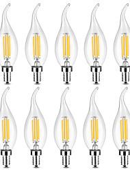 Недорогие -YWXLIGHT® 10 шт. 4 W 300-400 lm E14 LED лампы в форме свечи / LED лампы накаливания C35 4 Светодиодные бусины COB Диммируемая Тёплый белый / Белый 220-240 V