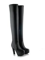 Недорогие -Жен. Полиуретан Зима Ботинки На толстом каблуке Закрытый мыс Сапоги до колена Черный