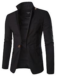 저렴한 -남성용 일상 가을 보통 블레이져, 솔리드 셔츠 카라 긴 소매 폴리에스테르 블랙 / 오렌지 / 밝은 블루 XL / XXL / XXXL