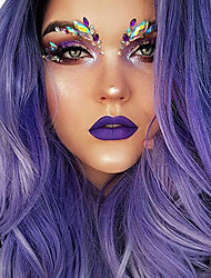 cheap -Synthetic Wig / Synthetic Lace Front Wig / Cosplay Wig Straight / Classic / kinky Straight Style Layered Haircut Lace Front Wig Purple Bright Purple Synthetic Hair 35.5 inch Women's Fashionable