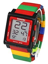 Недорогие -Для пары Наручные часы Японский Цифровой 30 m Календарь Секундомер Очаровательный PU Группа Цифровой Мода Цветной Черный / Белый / Синий - Черный / Красный Красный Черный / Желтый / Два года