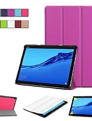 Недорогие -Кейс для Назначение Huawei MediaPad M5 10 / Huawei Mediapad M5 Lite 10 со стендом / Флип / Оригами Чехол Однотонный Твердый Кожа PU для Huawei Mediapad M5 Lite 10 / MediaPad M5 10 (Pro) / MediaPad M5