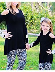 Недорогие -Мама и я Классический Повседневные Геометрический принт Длинный рукав Полиэстер Футболка Черный