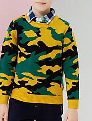 Недорогие -Дети Мальчики Классический Уличный стиль Контрастных цветов Длинный рукав Шерсть Свитер / кардиган Зеленый