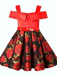 Недорогие -Дети Девочки Классический Однотонный С короткими рукавами Платье Черный