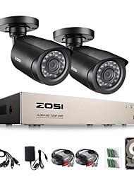 Недорогие -zosi® 4ch hd-tvi 720p dvr встроенный 1tb hdd с 2шт hd 1280tvl крытый / открытый атмосферостойкие камеры cctv