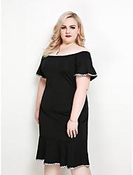 hesapli -Kadın's Büyük Bedenler Parti Kulüp Sokak Şıklığı Zarif A Şekilli Kılıf Elbise - Zıt Renkli, Dantelli Kırk Yama Düşük Omuz Midi Yüksek Bel / Sexy