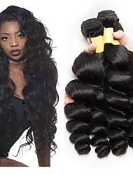 Недорогие -3 Связки Перуанские волосы Волнистый Натуральные волосы Необработанные натуральные волосы Человека ткет Волосы Удлинитель Пучок волос 8-28 дюймовый Естественный цвет Ткет человеческих волос