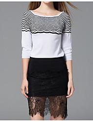 povoljno -Žene Sofisticirano Set - Prugasti uzorak Suknja