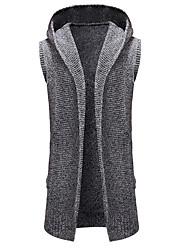 tanie -Męskie Codzienny Solidne kolory Bez rękawów Regularny Sweter rozpinany Ciemnoszary / Jasnoszary M / L / XL