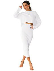 Недорогие -женские юбки midi карандаш - полосатый / сплошной цвет