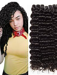 Недорогие -4 Связки Волнистые Глубокий курчавый Натуральные волосы Необработанные натуральные волосы Человека ткет Волосы Уход за волосами Удлинитель 8-28 дюймовый Естественный цвет Ткет человеческих волос / 8A