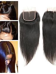 Недорогие -Laflare Перуанские волосы 4x4 Закрытие Прямой Средняя часть Средняя часть Швейцарское кружево Remy Жен. Мягкость / Лучшее качество / Новое поступление Рождество / Свадьба / Halloween