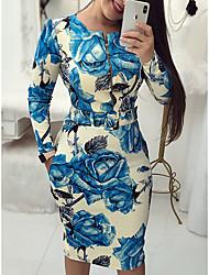 baratos -Mulheres Elegante Delgado Calças - Floral Azul / Festa