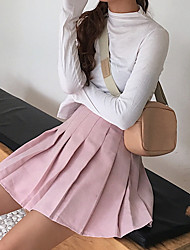 Недорогие -женщины выходят из хлопка мини-юбки - сплошной цвет