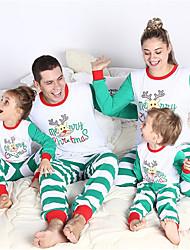 baratos -Olhar de família Básico Natal / Diário Animal Manga Longa Poliéster Roupa de Dormir Branco Menina 60