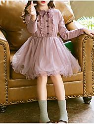 Недорогие -Дети Девочки Классический Повседневные Однотонный Длинный рукав Платье Розовый / Хлопок