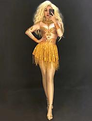 ba4f2fb30ca2 Dance Costumes Exotic Dancewear / Nightclub Jumpsuits Women's Performance  Spandex Tassel / Crystals / Rhinestones Long Sleeve Dress