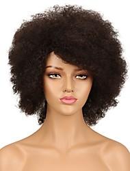 Недорогие -человеческие волосы Remy Полностью ленточные Лента спереди Парик Ассиметричная стрижка Rihanna стиль Бразильские волосы Афро Квинки Черный Парик 130% 150% Плотность волос
