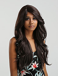 cheap -Synthetic Lace Front Wig Body Wave Brown Side Part Black / Burgundy Bright Purple Dark Brown / Golden Blonde 150% Density Synthetic Hair 24 inch Women's Color Gradient Brown Wig Long Lace Front MAYSU