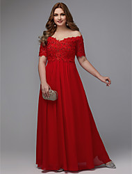 cheap -Plus Size A-Line Off Shoulder Floor Length Chiffon Formal Evening Dress with Beading / Lace Insert by TS Couture®
