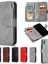 Недорогие -Кейс для Назначение Apple iPhone XR / iPhone XS Max Кошелек / со стендом Чехол Однотонный Твердый Кожа PU для iPhone XS / iPhone XR / iPhone XS Max