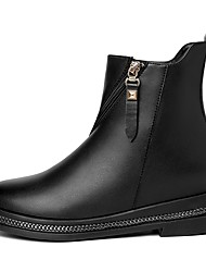 저렴한 -여성용 구두 PU 가을 겨울 부츠 낮은 굽 둥근 발가락 부티 / 앵클 부츠 일상 / 사무실 및 경력 용 블랙